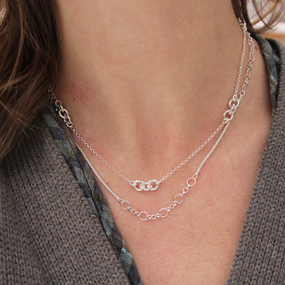 Sterling Silver Mesh Chain with Open Ring Chain Stations