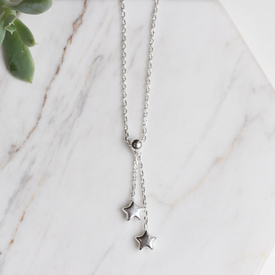 Sterling Silver Double Star Drop Necklace