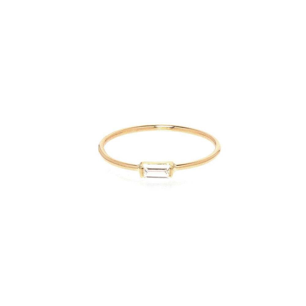 14K HORIZONTAL DIAMOND BAGUETTE RING
