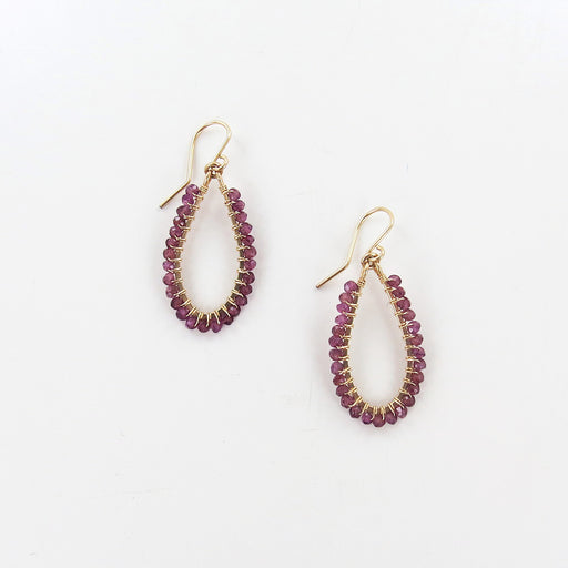 TEARDROP WRAPPED GARNET EARRINGS