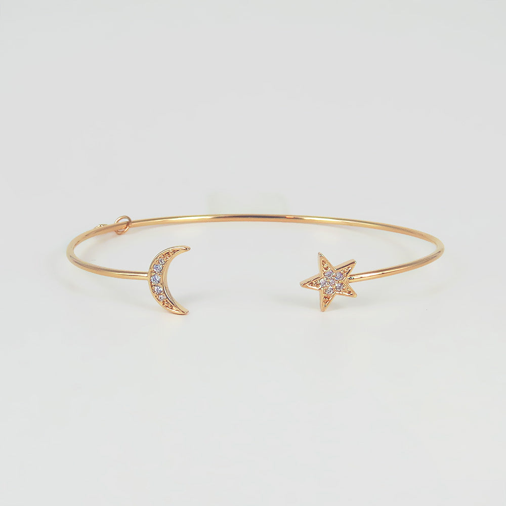 STAR AND MOON SPLIT CUFF BRACELET