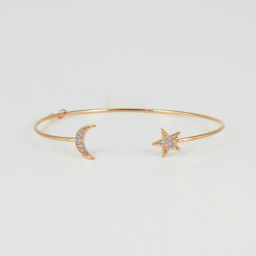 Star and Moon CZ Cuff Bracelet