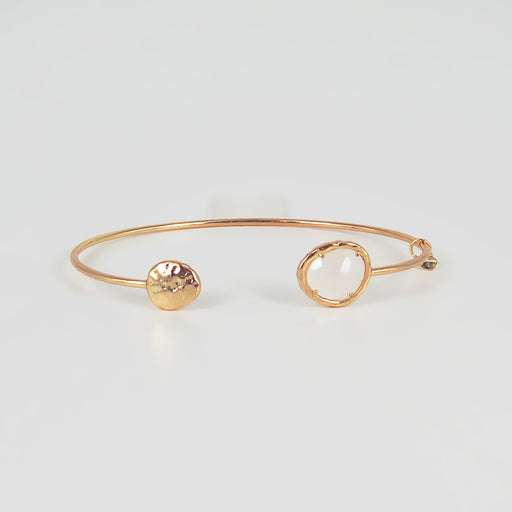 DISK AND MOON GLASS SPLIT CUFF BRACELET
