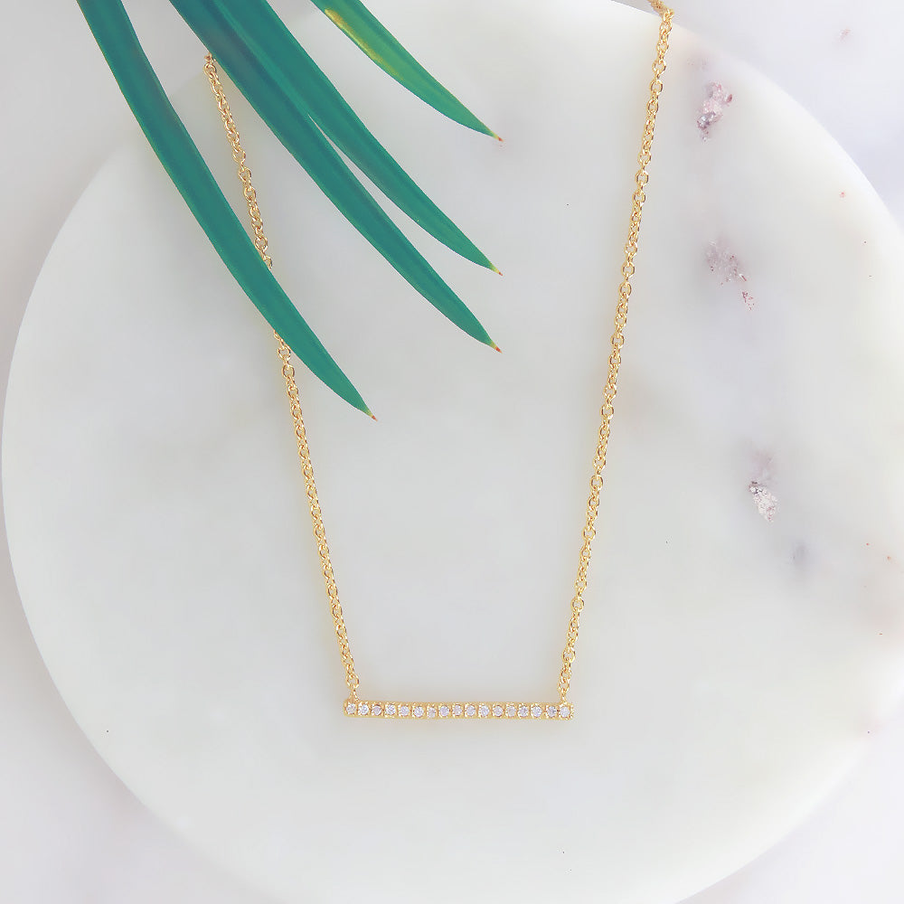 VERMEIL PAVE CZ BAR NECKLACE