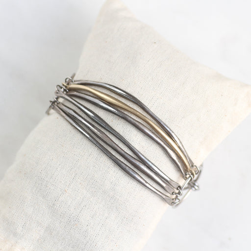 Oxidized Silver Bar Bracelet with One 14k Gold Vermeil Bar