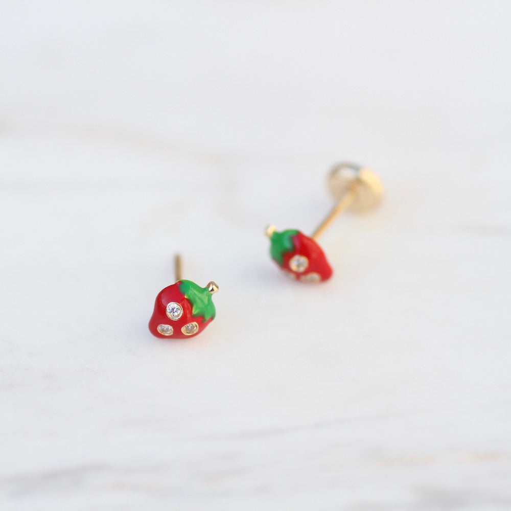 14K Enamel Strawberry Post Earring