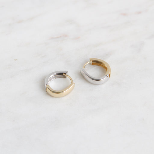 Oval Reversible 14k Yellow & White Gold Huggies