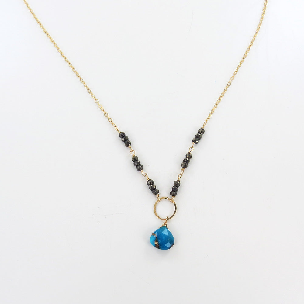 RONDELLE BARS AND TURQUOISE DROP NECKLACE