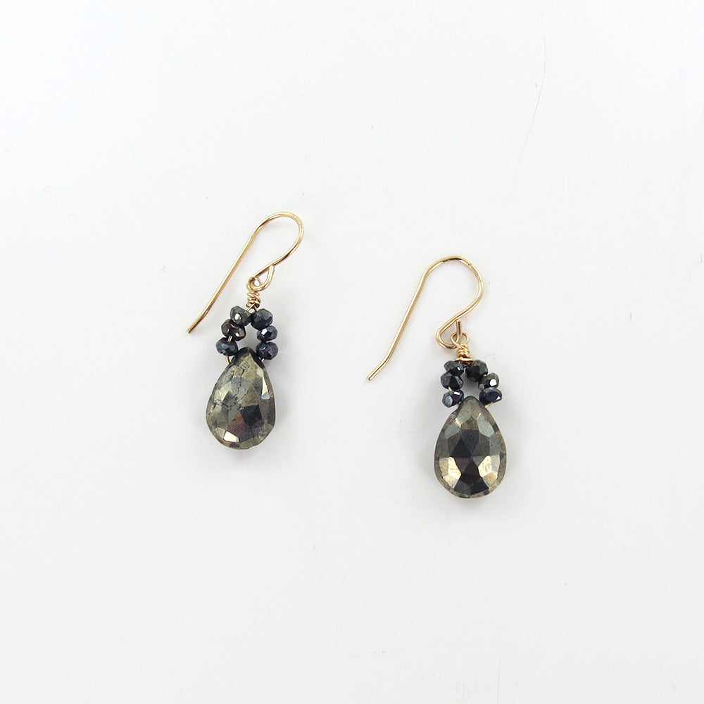 PYRITE FLOWER AND PYRITE DROP EARRINGS