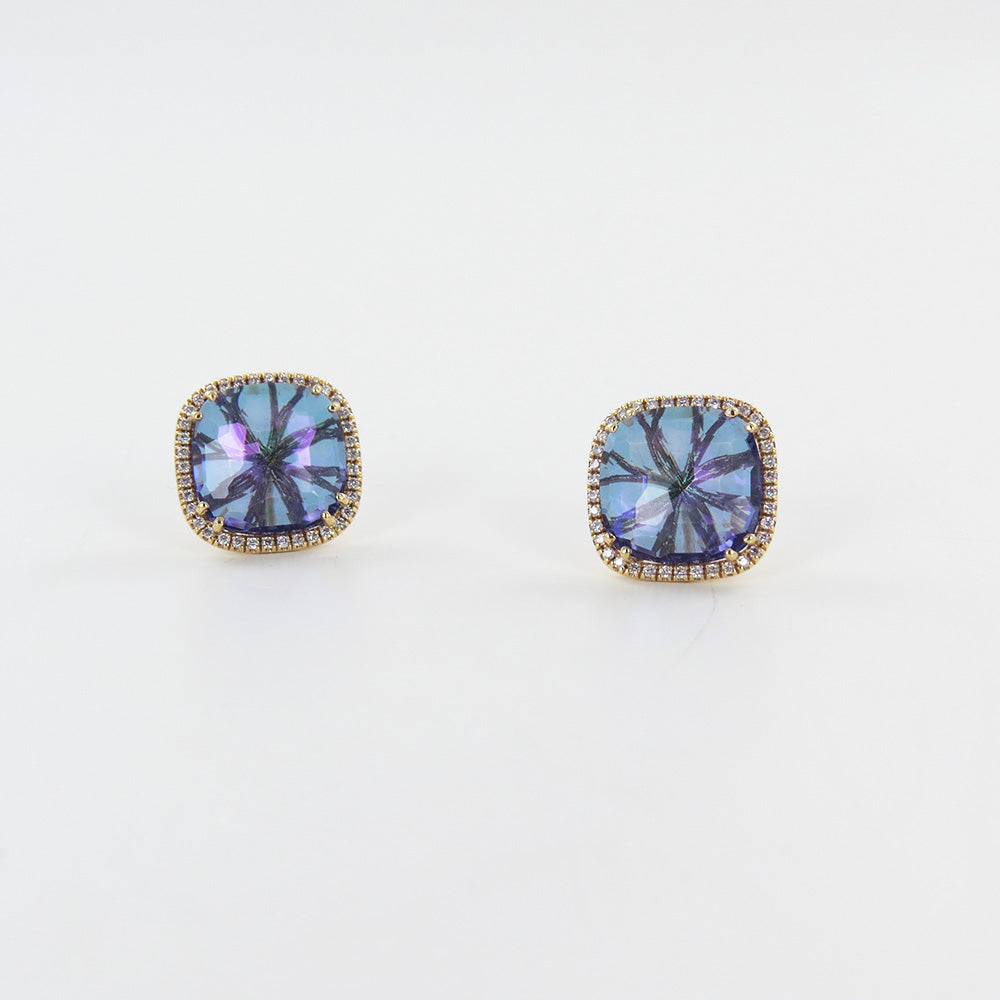 CUSHION ENGLISH BLUE TOPAZ 14K GOLD POST EARRING