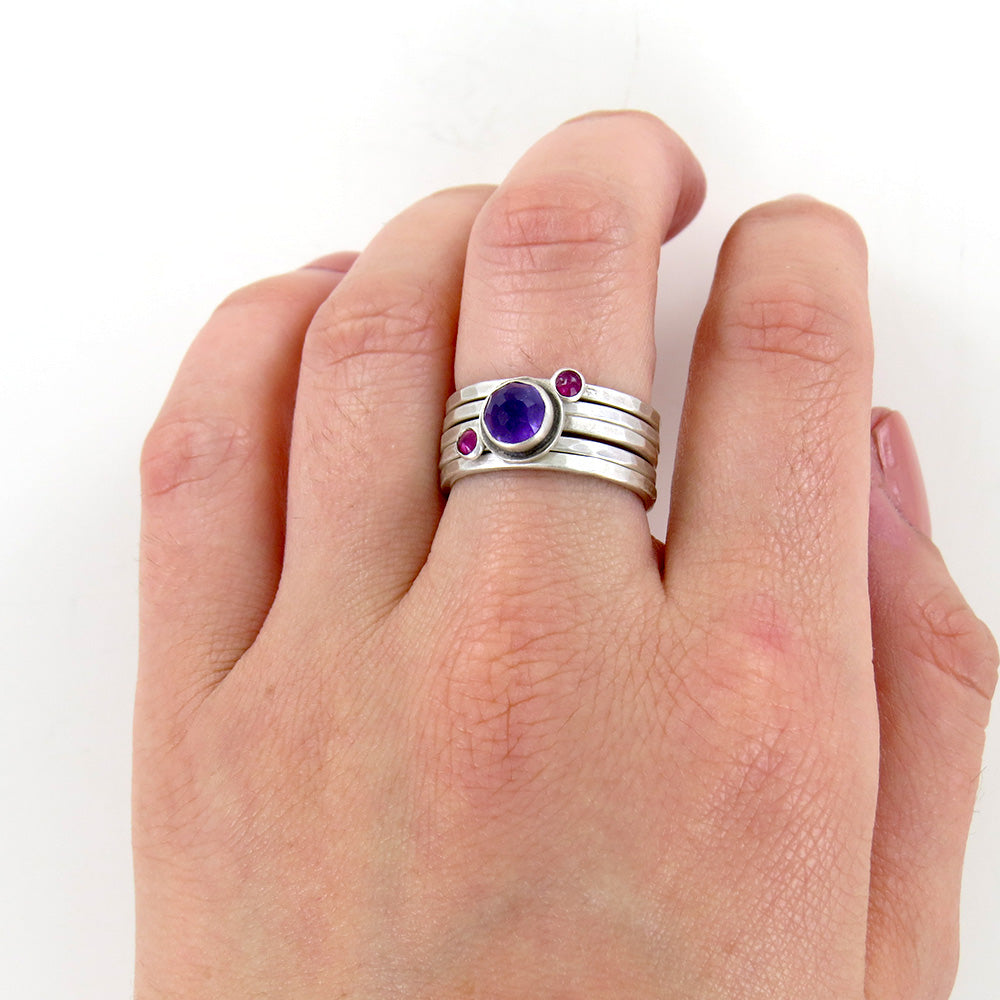 ROSE CUT AMETHYST AND TWO RUBY STACKING RING SET