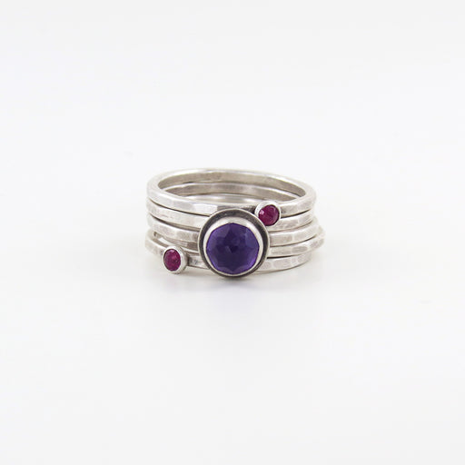 ROSE CUT AMETHYST AND TWO RUBY STACKING SET RINGS