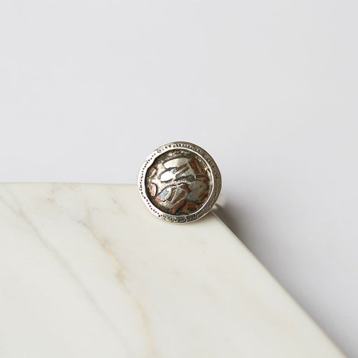 Round Sterling Silver Disc With Copper Speckle Ring