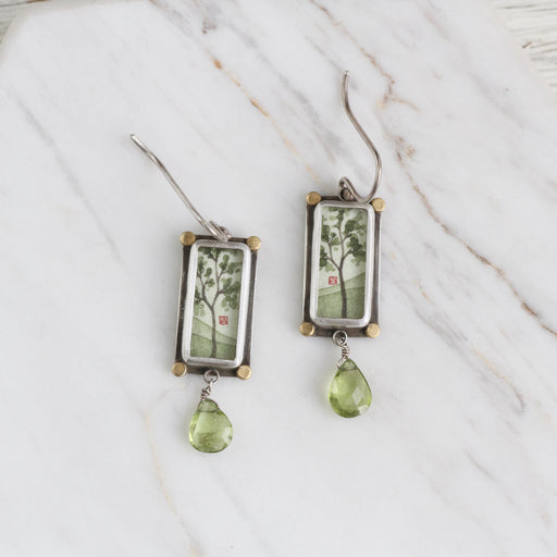 Hand Painted Rectangle Spring Maple Earring with Peridot & 22k Gold