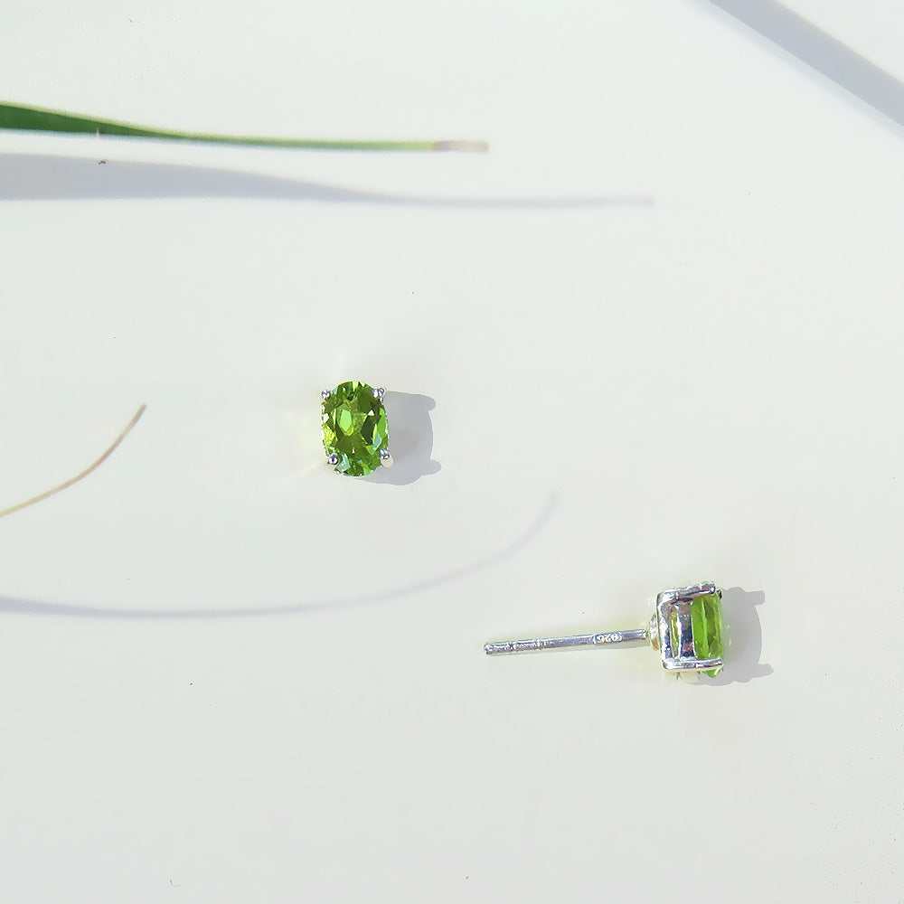 Oval Peridot Post Earring