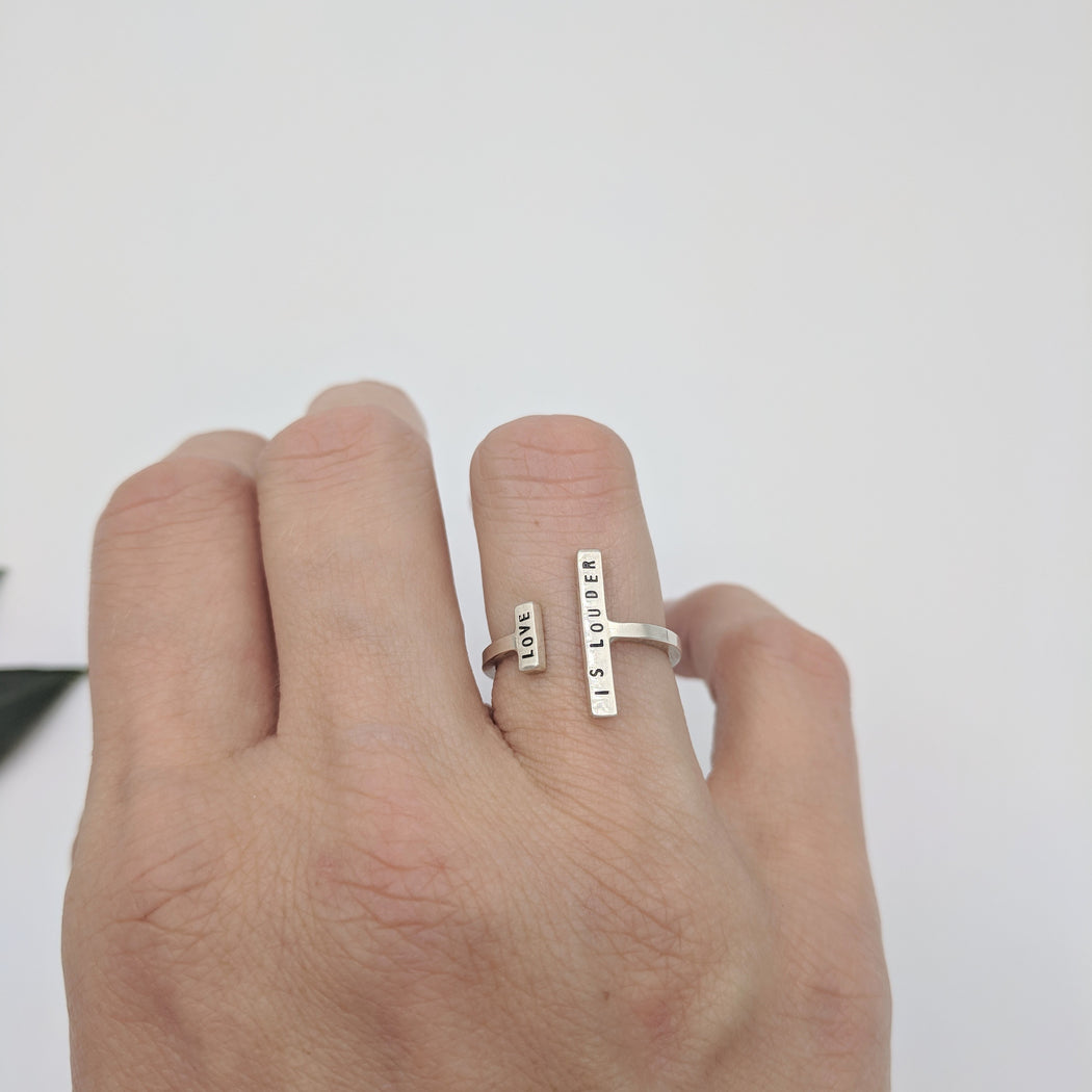 LOVE IS LOUDER ADJUSTABLE RING