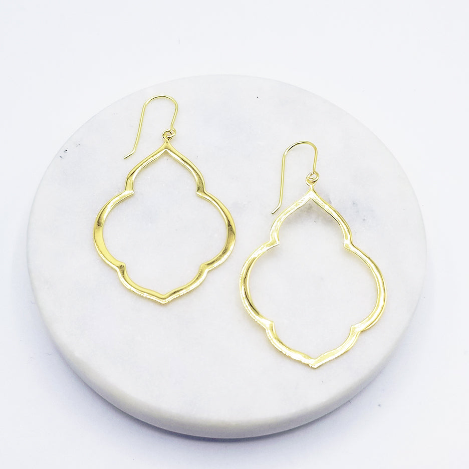 Large Persian Window Earring in Polished Gold Vermeil