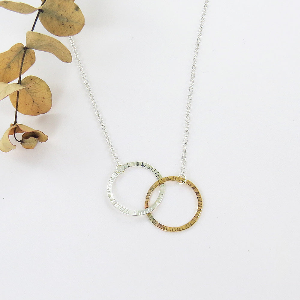 MIXED DOUBLE RING NECKLACE