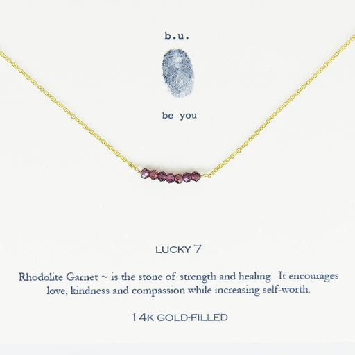 GARNET LUCKY 7 VERMEIL NECKLACE
