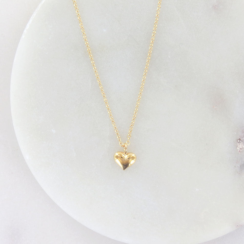PUFFY HEART NECKLACE IN GOLD VERMEIL