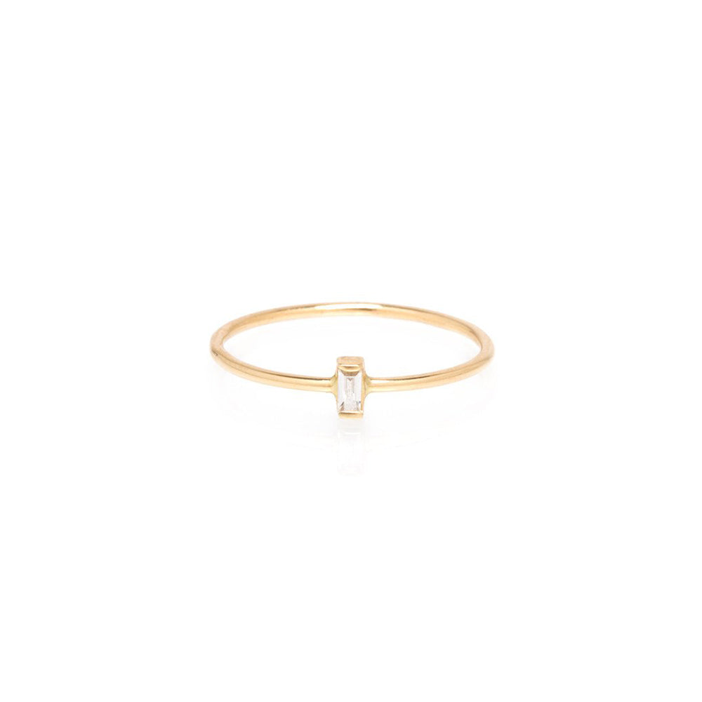 14K VERTICAL  DIAMOND BAGUETTE RING