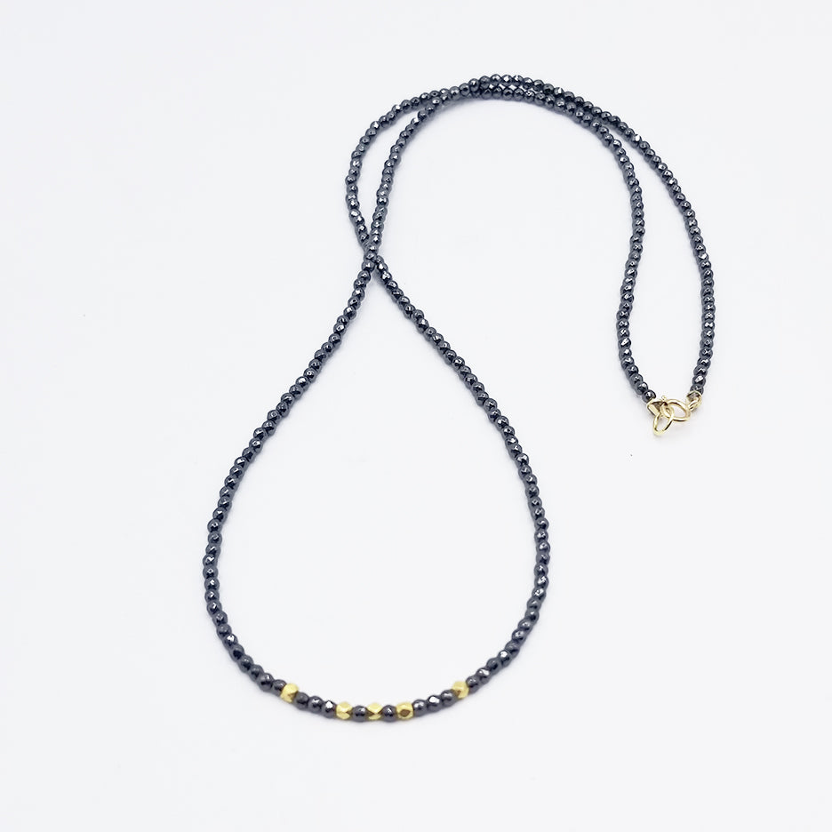 Hematite with 18K Hex Beads Necklace