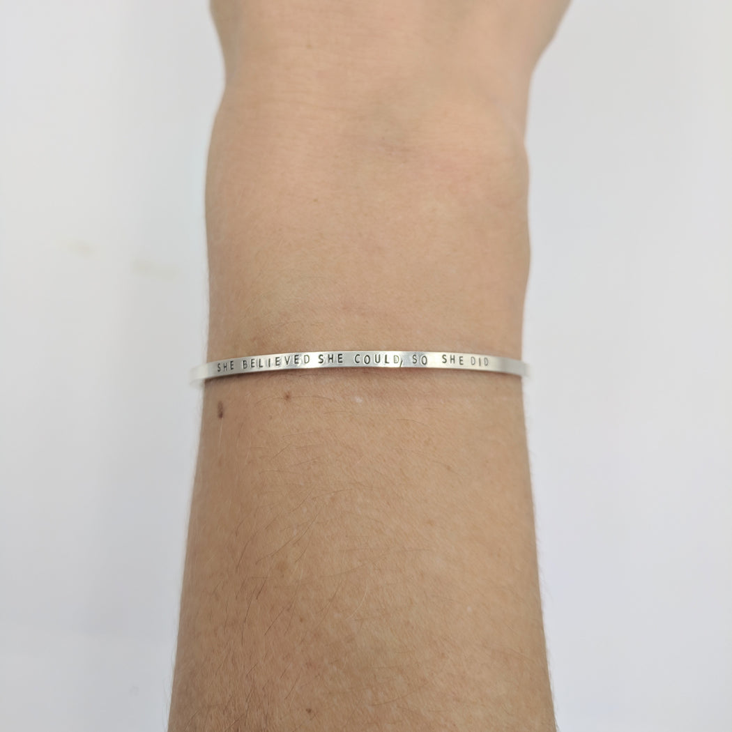 SHE BELIEVED SHE COULD STERLING SILVER CUFF