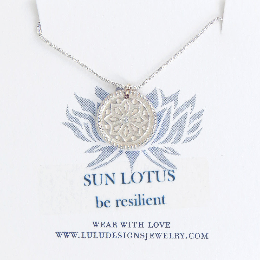 SMALL SUN LOTUS MEDALION IN STERLING SILVER