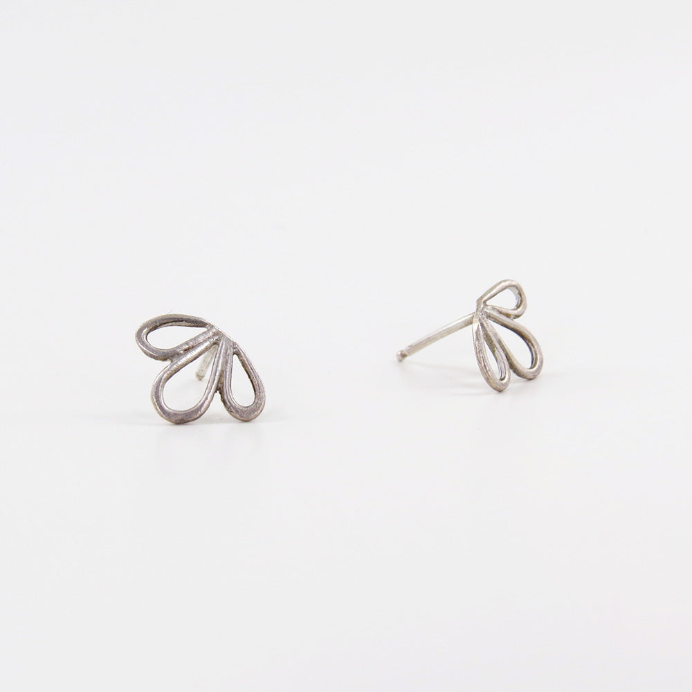 OPEN LEAF TRIO STUD EARRINGS