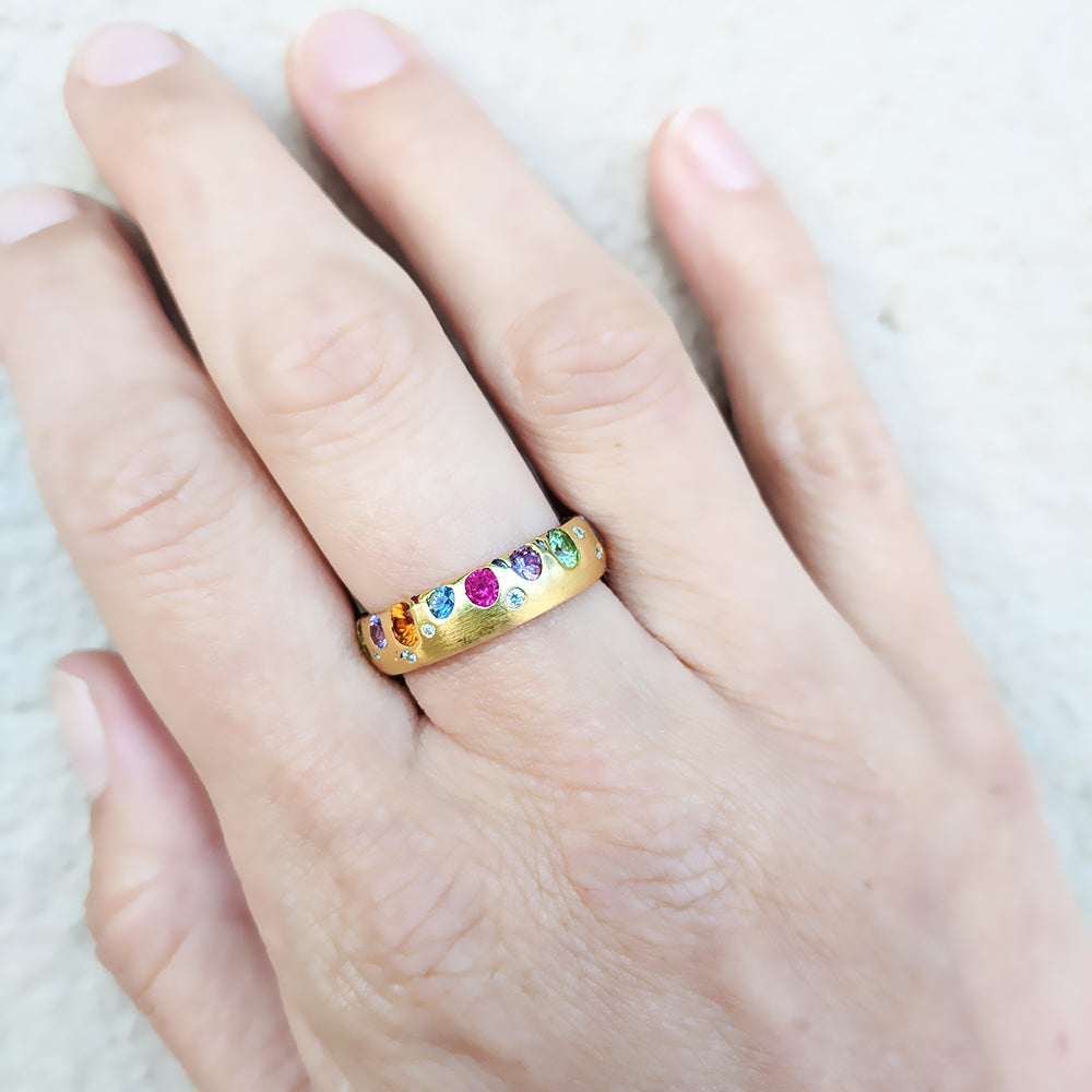 POLLY WALES RAINBOW SAPPHIRES BAND RING