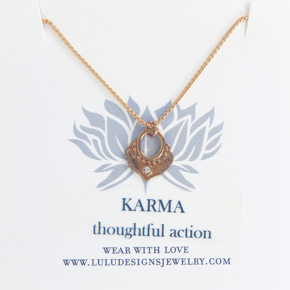 KARMA PENDANT IN YELLOW BRASS AND GOLD FILL