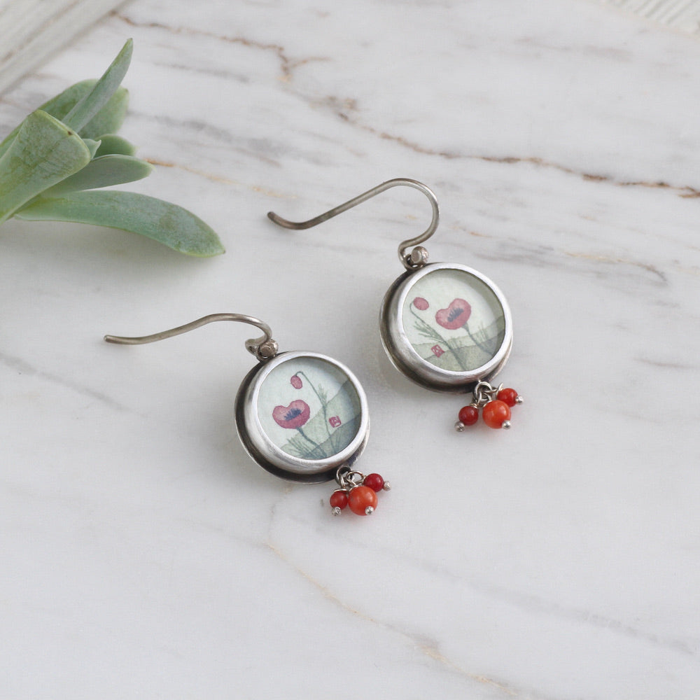 Hand Painted Small Round Poppy Earring with Coral