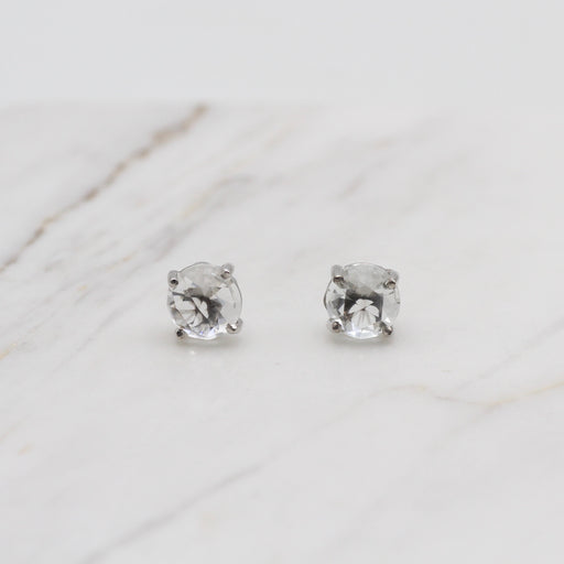 WHITE TOPAZ 6MM WHITE GOLD STUD EARRING