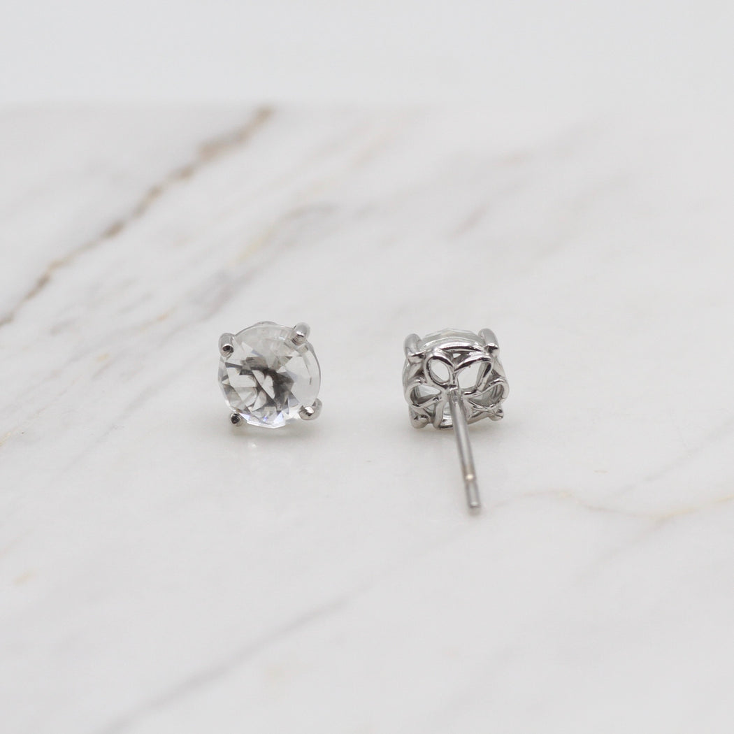 14K White Gold and White Topaz Earring