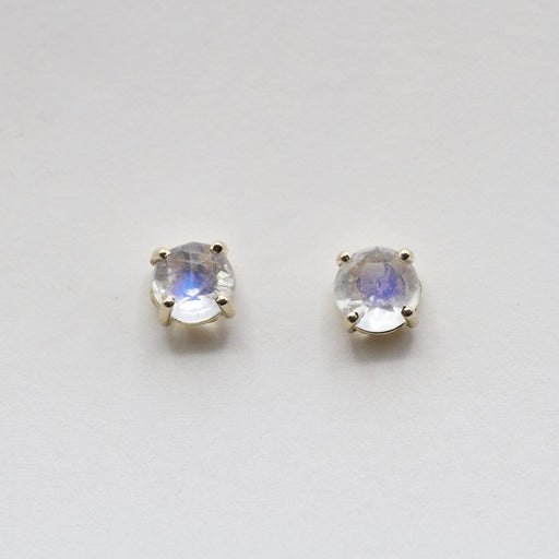 14k Yellow Gold and Rainbow Moonstone Stud Earring