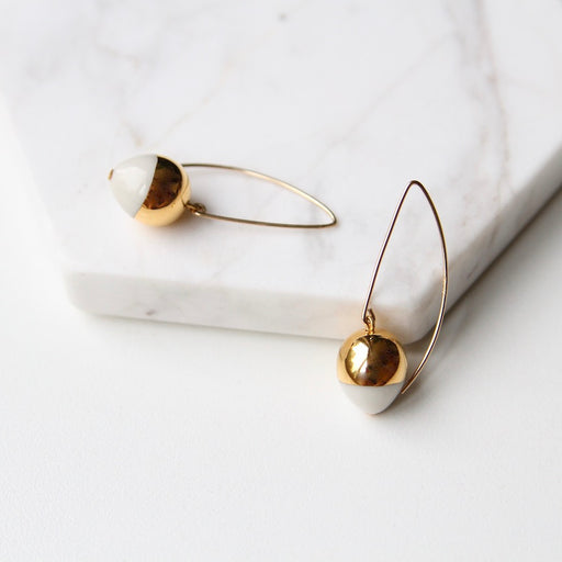 Gold Dipped Acorn Earring - White