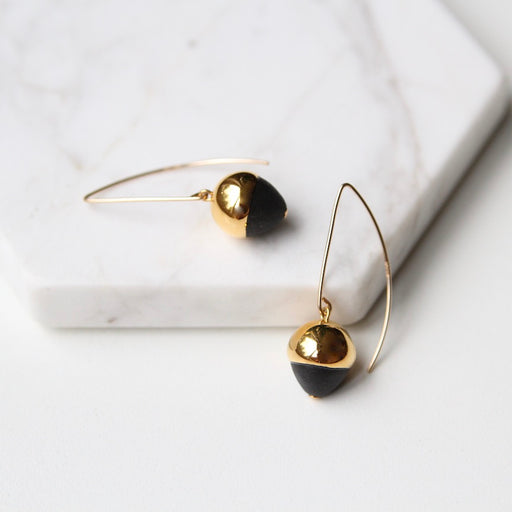 Gold Dipped Acorn Earring - Black