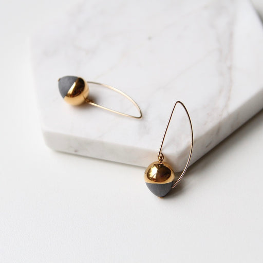 Gold Dipped Acorn Earring - Grey