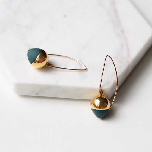Gold Dipped Acorn Earring - Teal