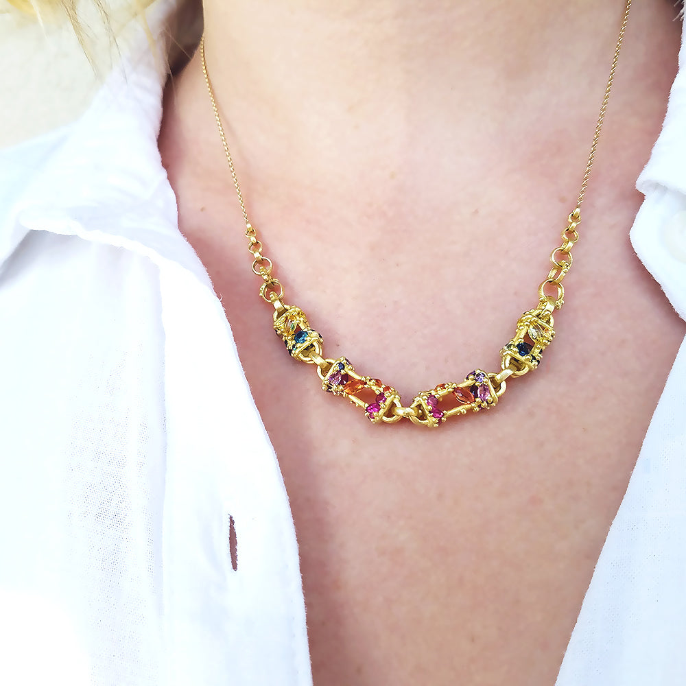 Polly Wales Encrusted Chain Necklace