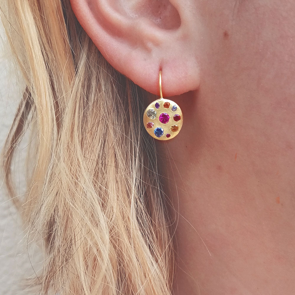 Polly Wales Celeste Crystal Disc Earring