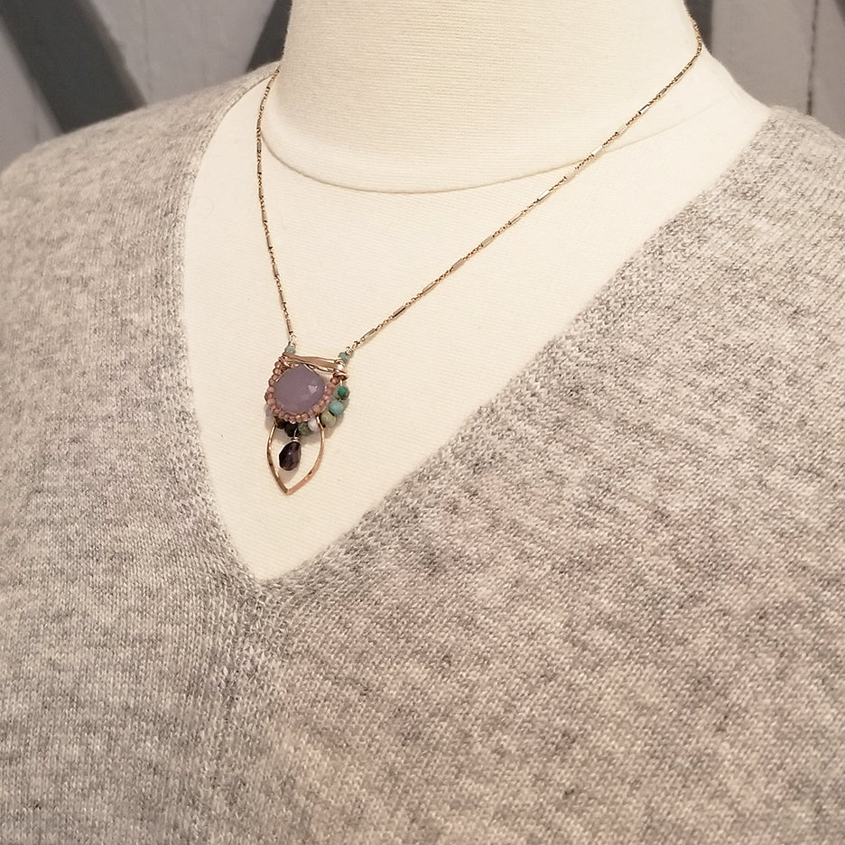 LAVENDER CHALCEDONY SURROUNDED BY PINK TOURMALINE AND CHRYSOCOLLA NECKLACE