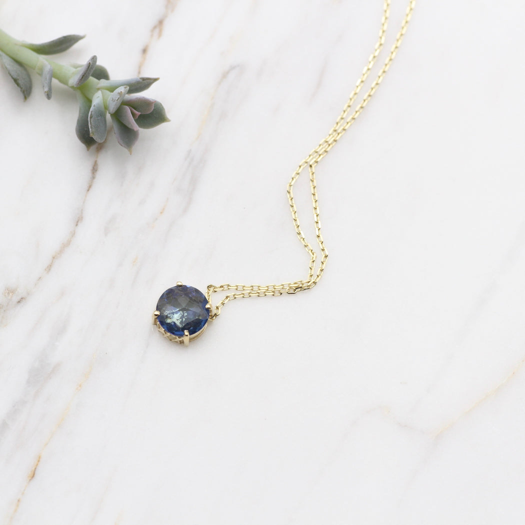 14k Gold and English Blue Topaz Necklace