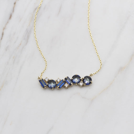 Millie English Blue Topaz Bar Necklace