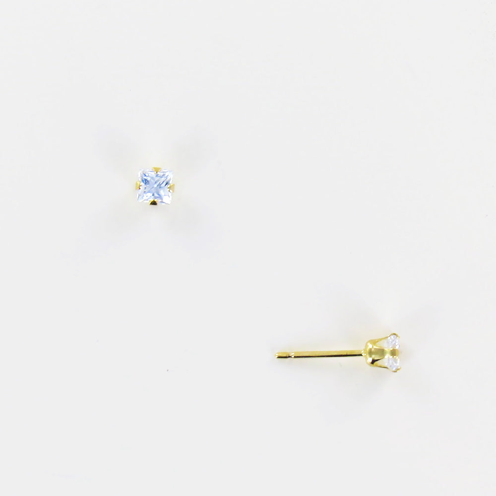 SQUARE CZ STUD IN 14K GOLD