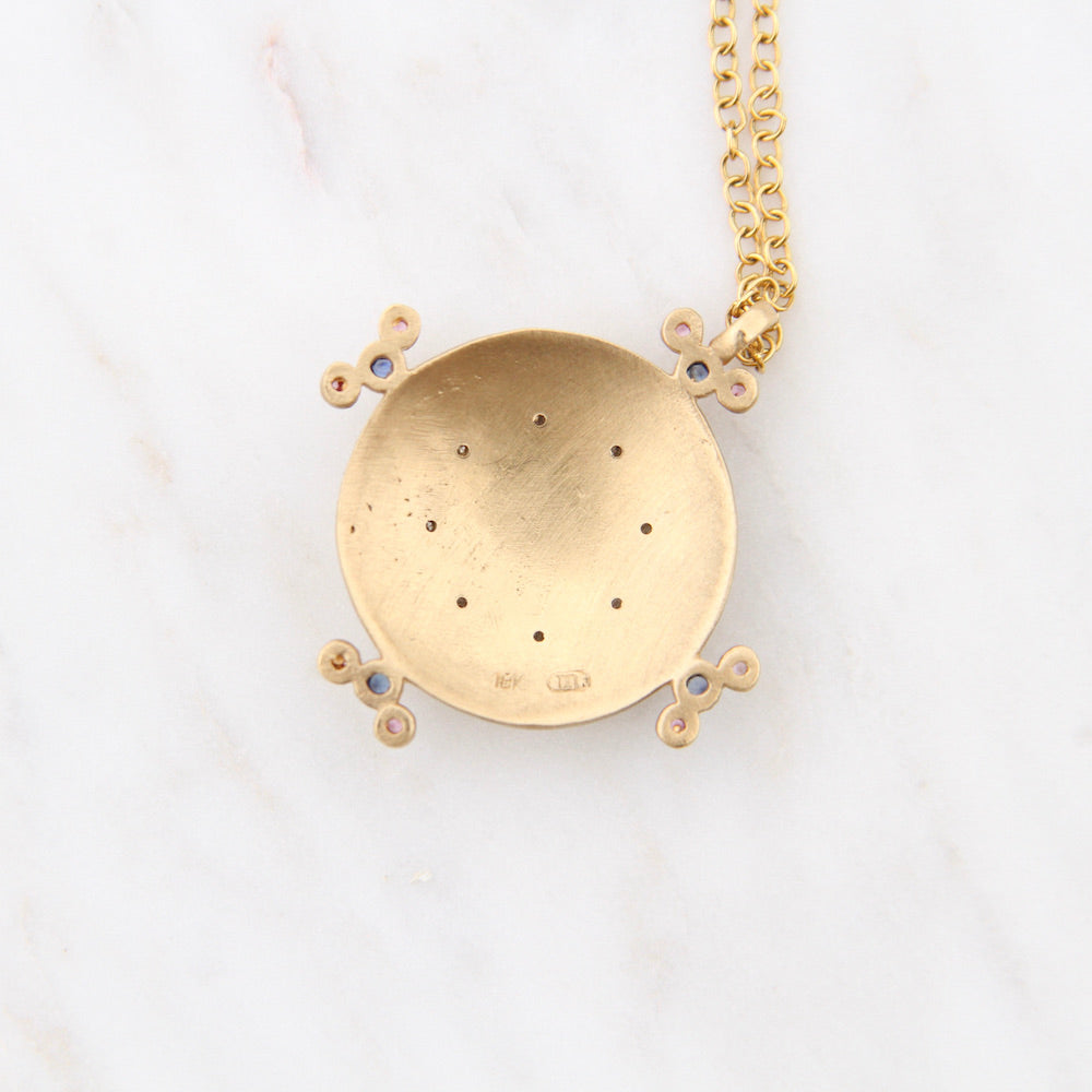 Long 18K Gold Round Pendant Necklace with Diamonds