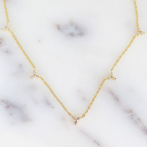 TRIANGLES OF CZ STATION NECKLACE IN GOLD VERMEIL