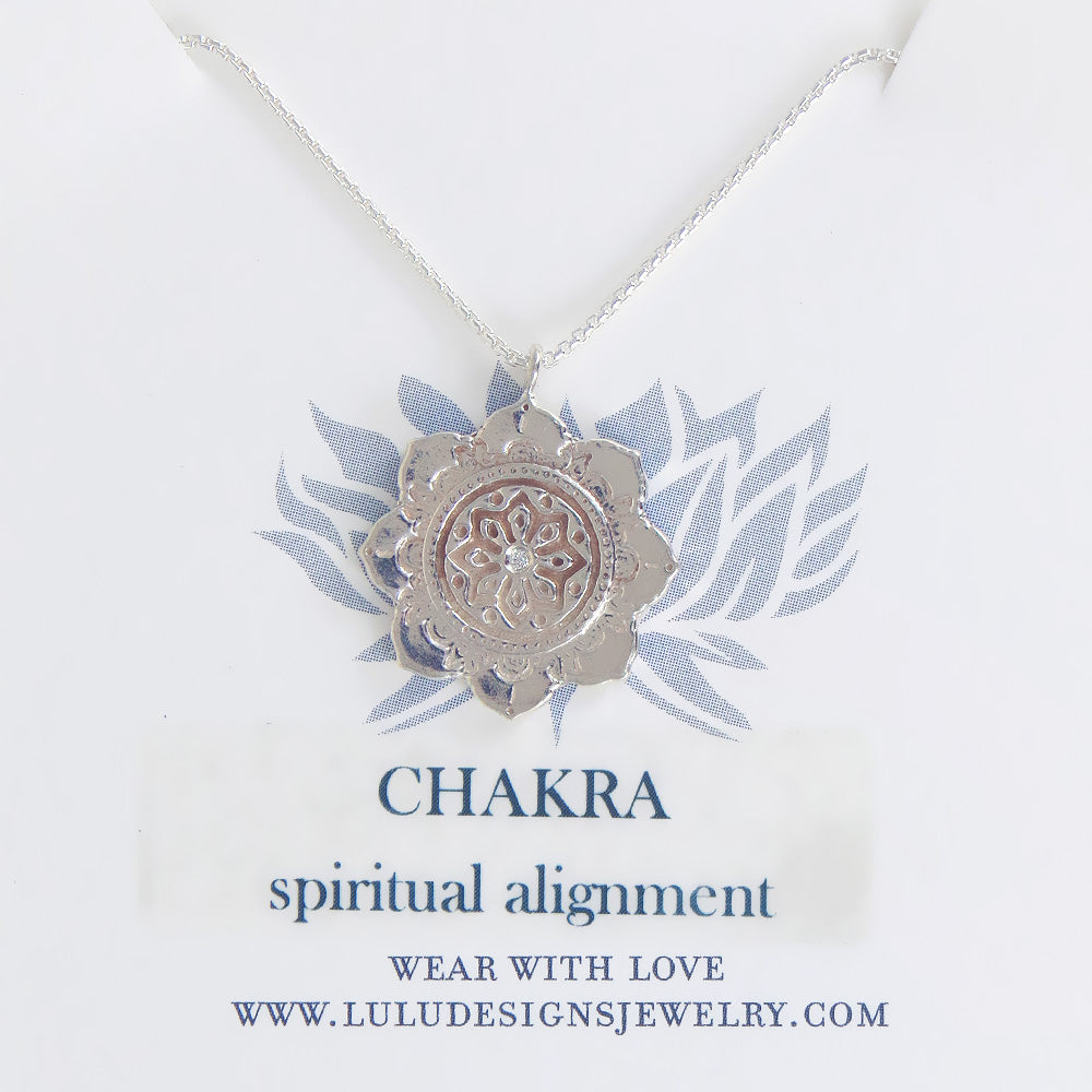 CHAKRA MEDALION WITH DIAMOND IN STERLING SILVER