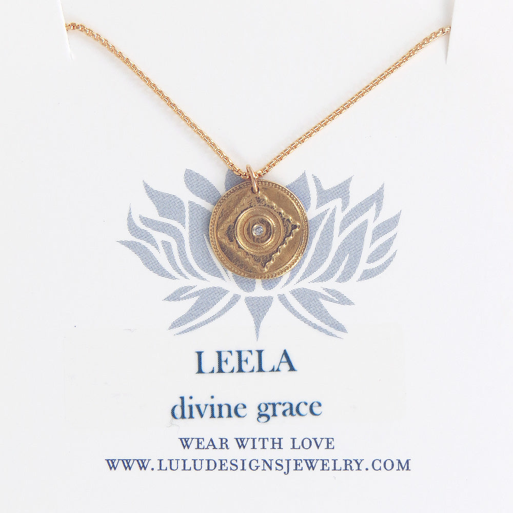 LEELA MEDALION WITH DIAMOND IN GOLD FILLED
