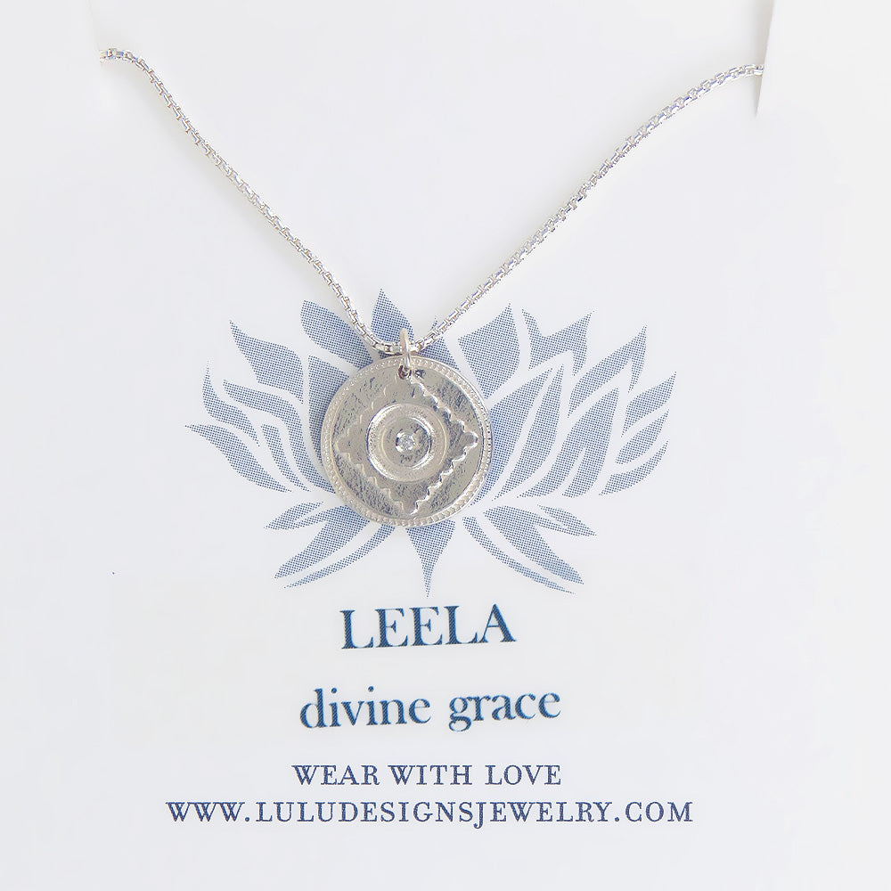 LEELA MEDALION WITH DIAMOND IN STERLING SILVER